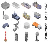 refinery plant icons set.... | Shutterstock .eps vector #1358414969