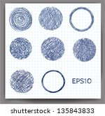 set of sketch circles. vector... | Shutterstock .eps vector #135843833