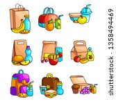 fresh school breakfast set... | Shutterstock .eps vector #1358494469