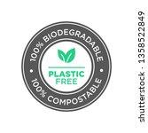 plastic free. 100 ... | Shutterstock .eps vector #1358522849