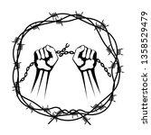 hands in a wreath of barbed wire | Shutterstock . vector #1358529479