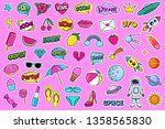 modern cute colorful patch set... | Shutterstock .eps vector #1358565830