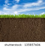 soil  grass and sky background | Shutterstock . vector #135857606