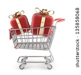 Market cart with red gifts. 3D Isolated on white background - stock photo