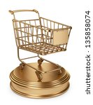 Golden Market cart. Best Sellers concept. 3D Isolated on white background - stock photo