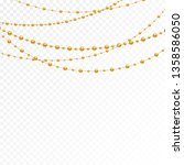 gold beads on a white... | Shutterstock .eps vector #1358586050