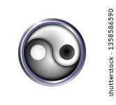 yin and yang button icon in...