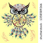 hand drawn detailed ornate owl... | Shutterstock .eps vector #1358589266