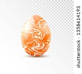 orange egg with marble texture... | Shutterstock .eps vector #1358614193
