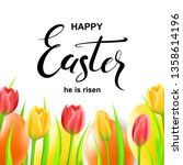 happy easter card with eggs ... | Shutterstock .eps vector #1358614196