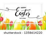 happy easter card with eggs ... | Shutterstock .eps vector #1358614220