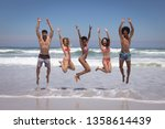 front view of happy group of... | Shutterstock . vector #1358614439