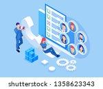 isometric survey concept banner ... | Shutterstock .eps vector #1358623343