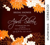 invitation or wedding card with ... | Shutterstock .eps vector #135863120