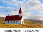 typical rural icelandic church... | Shutterstock . vector #135866090