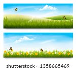 two spring meadow banners with... | Shutterstock .eps vector #1358665469
