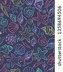 sea theme seamless pattern...   Shutterstock .eps vector #1358694506