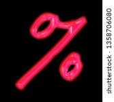 glowing neon pink glass percent ... | Shutterstock . vector #1358706080