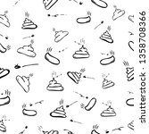 Simple Black and White Hand Draw Sketch Seamless Pattern 4 Poop with fly