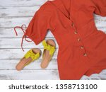 womens clothing  shoes  yellow... | Shutterstock . vector #1358713100