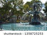 beautiful water fountain ... | Shutterstock . vector #1358725253