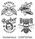 vintage monochrome barbershop... | Shutterstock .eps vector #1358733566