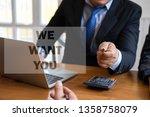 businessman finger pointing... | Shutterstock . vector #1358758079