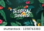 birds collection and tropical... | Shutterstock .eps vector #1358763383