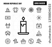 indian republic day line icon...