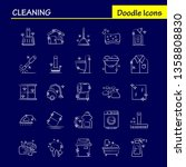 cleaning hand drawn icons set...