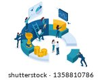 isometric businessmen make a... | Shutterstock .eps vector #1358810786