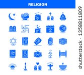 religion solid glyph icons set... | Shutterstock .eps vector #1358811809