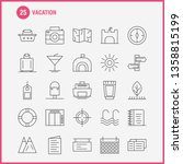 vacation line icons set for...