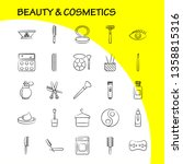 beauty and cosmetics hand drawn ... | Shutterstock .eps vector #1358815316
