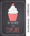chalkboard style poster with... | Shutterstock .eps vector #135882260