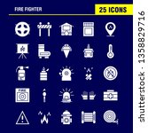 fire fighter solid glyph icon... | Shutterstock .eps vector #1358829716