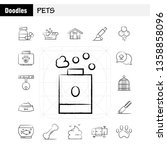 pets hand drawn icons set for...