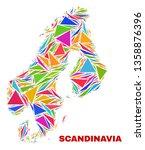 mosaic scandinavia map of... | Shutterstock .eps vector #1358876396