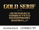 gold serif font and alphabet.... | Shutterstock .eps vector #1358881739