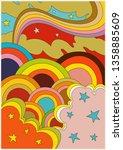 psychedelic poster 1960's...   Shutterstock .eps vector #1358885609