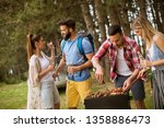 group of young people enjoying... | Shutterstock . vector #1358886473