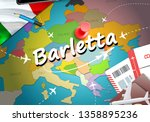 Barletta city travel and tourism destination concept. Italy flag and Barletta city on map. Italy travel concept map background. Tickets Planes and flights to Barletta holidays Italian vacation