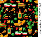 mexican cinco de mayo seamless... | Shutterstock .eps vector #1358901563