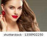 red lips woman beautiful face... | Shutterstock . vector #1358902250