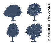 set of trees silhouettes.... | Shutterstock .eps vector #1358909216