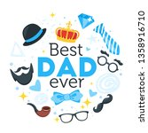 happy father day greeting round ... | Shutterstock .eps vector #1358916710