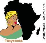 beauty afro woman with words   Shutterstock .eps vector #1358916776