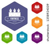 luxury fortress icons vector... | Shutterstock .eps vector #1358924039