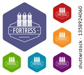 fortress icons vector colorful... | Shutterstock .eps vector #1358924060