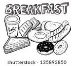 various breakfast doodle | Shutterstock .eps vector #135892850